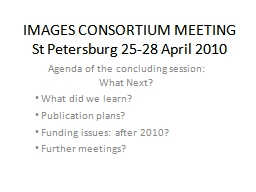 IMAGES CONSORTIUM MEETING PowerPoint PPT Presentation