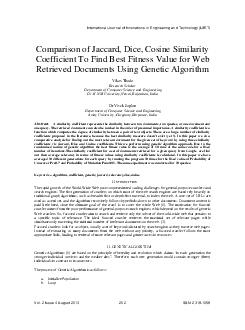 Comparison of Jaccard Dice Cosine Similarity Coefficient To Find Best Fitness V PDF document - DocSlides