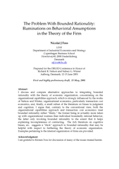 The Problem With Bounded Rationality:Ruminations on Behavioral Assumpt
