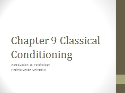 Chapter 9 Classical Conditioning