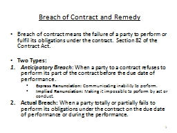 Breach of Contract and Remedy PowerPoint PPT Presentation