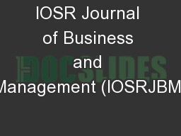 IOSR Journal of Business and Management (IOSRJBM)