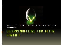 Recommendations for Alien Contact