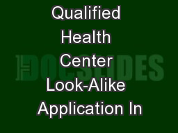 Federally Qualified Health Center Look-Alike Application In