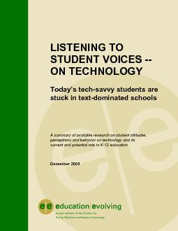 LISTENING TOSTUDENT VOICES --ON TECHNOLOGYToday's tech-savvy stud