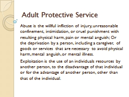 Adult Protective Service
