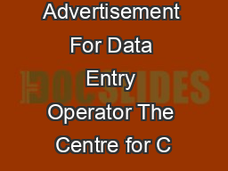 Advertisement For Data Entry Operator The Centre for C