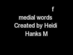 f medial words Created by Heidi Hanks M PowerPoint PPT Presentation