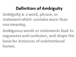 Definition of Ambiguity