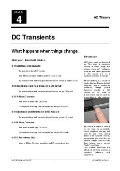 DC Transients What youll learn in Module