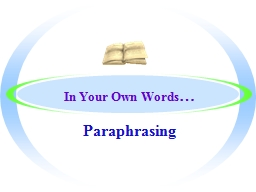 In Your Own Words PowerPoint PPT Presentation
