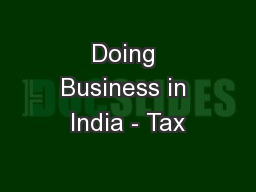 Doing Business in India - Tax