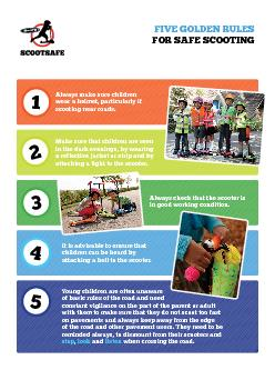 FIVE GOLDEN RULES FOR SAFE SCOOTINGAlways make sure children wear a he