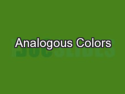 Analogous Colors PowerPoint PPT Presentation