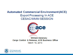 Automated Commercial Environment (ACE PowerPoint PPT Presentation