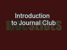 Introduction to Journal Club