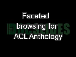 Faceted  browsing for ACL Anthology