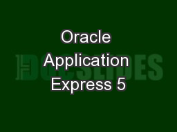 Oracle Application Express 5