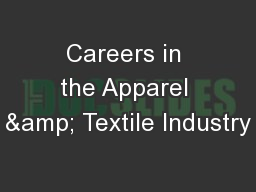 Careers in the Apparel & Textile Industry