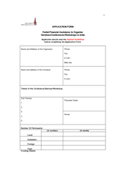 APPLICATION FORM  Partial Financial Assistance to Organise Seminars/C