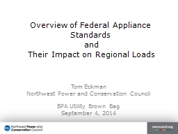 Overview of Federal Appliance Standards PowerPoint PPT Presentation