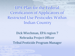 EPA Plan for the Federal Certification of Applicators of Re