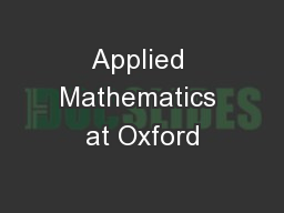 Applied Mathematics at Oxford