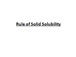Rule of Solid Solubility PowerPoint PPT Presentation