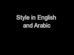 Style in English and Arabic