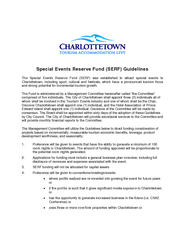 Special Events Reserve Fund (SERF) Guidelines