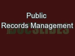 Public Records Management