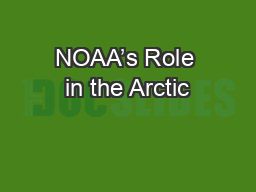 NOAA's Role in the Arctic