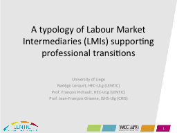 A typology of Labour Market Intermediaries (LMIs) supportin