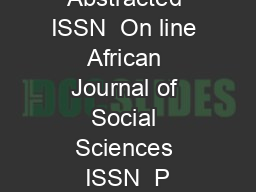 Indexed and Abstracted ISSN  On line African Journal of Social Sciences ISSN  P