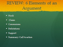 an analysis of elements of argument In order to do an effective and complete analysis, consider all questions under each heading by the authors' argument, by the needs of the audience.