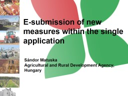 E-submission of new measures within the single application PowerPoint PPT Presentation