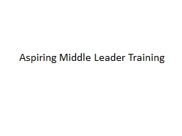 Aspiring Middle Leader Training PowerPoint Presentation, PPT - DocSlides