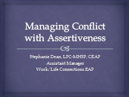 Managing Conflict with Assertiveness