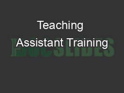 Teaching Assistant Training