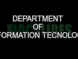 DEPARTMENT OF INFORMATION TECNOLOGY