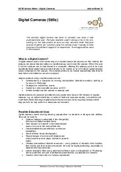 NCTE Advice Sheet  Digital Cameras Advice Sheet   Nati