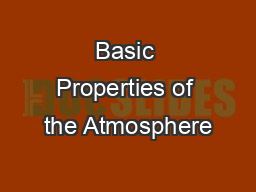 Basic Properties of the Atmosphere
