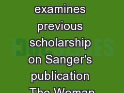paper examines previous scholarship on Sanger's publication The Woman