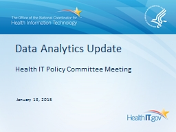 Health IT Policy Committee Meeting PowerPoint PPT Presentation