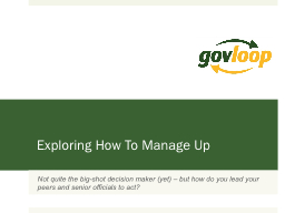 Exploring How To Manage Up