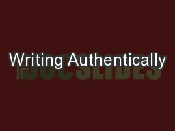 Writing Authentically