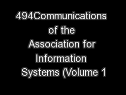 494Communications of the Association for Information Systems (Volume 1