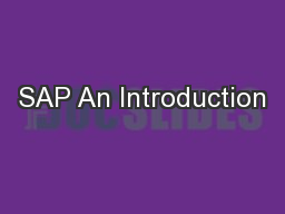 SAP An Introduction