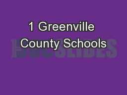 1 Greenville County Schools