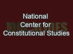 National Center for Constitutional Studies